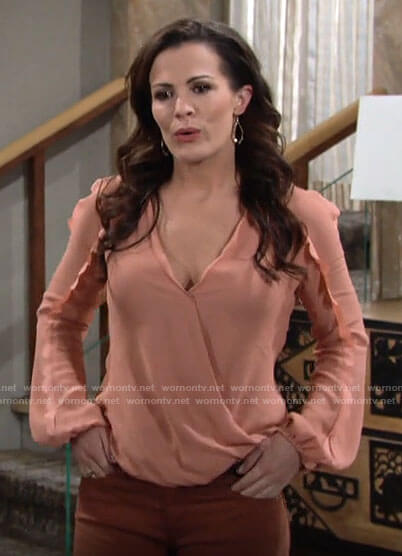 Chelsea's coral blouse with scalloped trims on The Young and the Restless