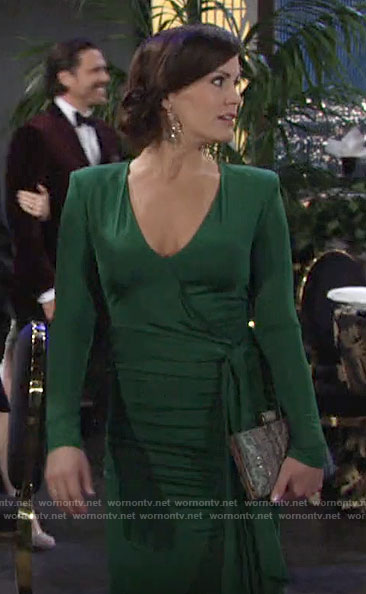 Chelsea's green wrap gown on The Young and the Restless