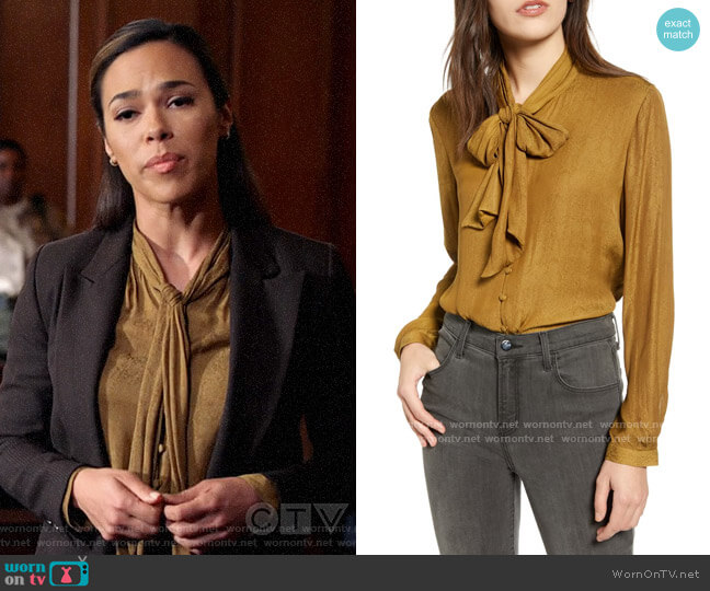 Chelsea28 Tie Neck Jacquard Blouse worn by Emily Lopez (Jessica Camacho) on All Rise