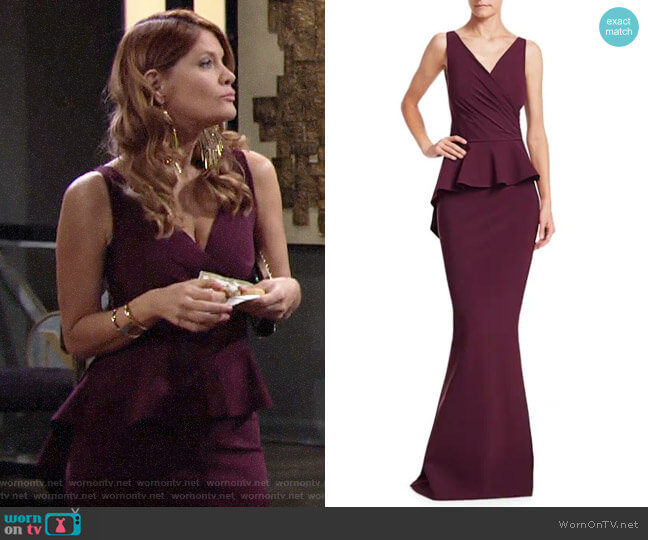Chiara Boni La Petite Robe Nelinka Peplum Mermaid Gown worn by Phyllis Summers (Michelle Stafford) on The Young & the Restless