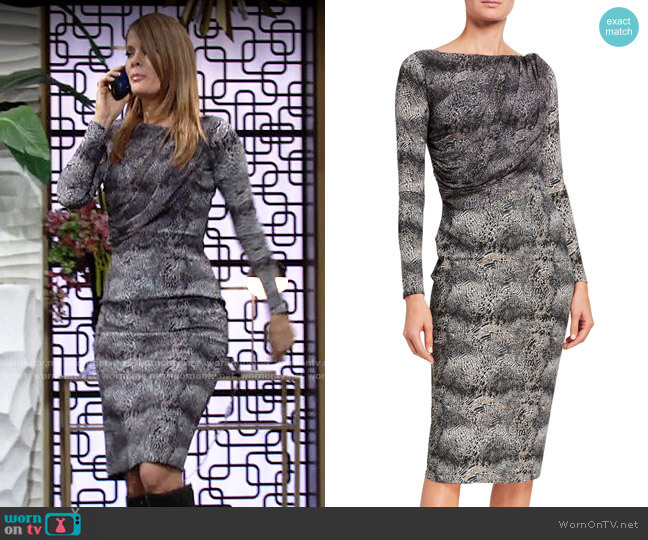 Chiara Boni La Petite Robe Snake-Print Long-Sleeve Dress with Sheer Bodice Overlay worn by Phyllis Summers (Michelle Stafford) on The Young & the Restless
