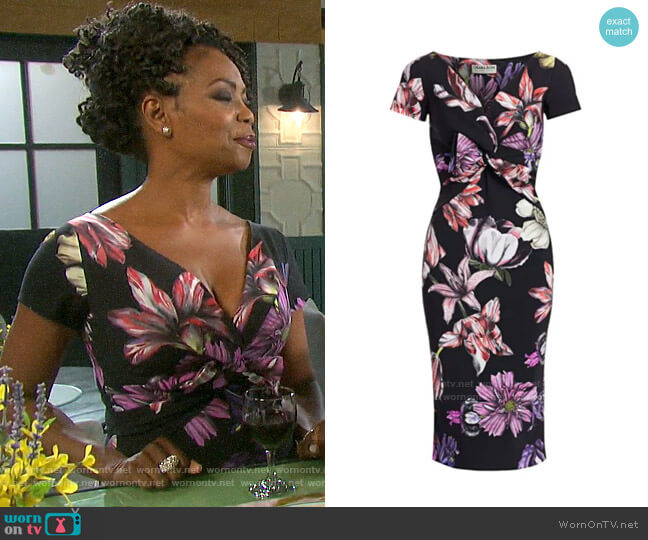 Chiara Boni La Petite Robe Illye Floral Dress worn by Valerie Grant (Vanessa Williams) on Days of our Lives