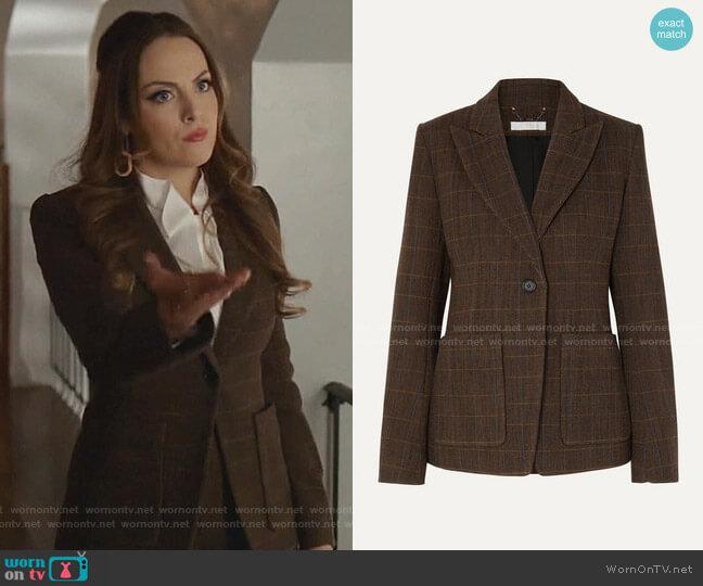 Checked Wool-Blend Blazer and Shorts by Chloe worn by Fallon Carrington (Elizabeth Gillies) on Dynasty