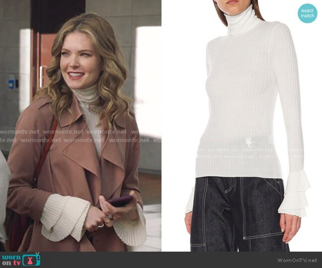 Ribbed Wool Turtleneck Sweater by Chloe worn by Sutton (Meghann Fahy) on The Bold Type