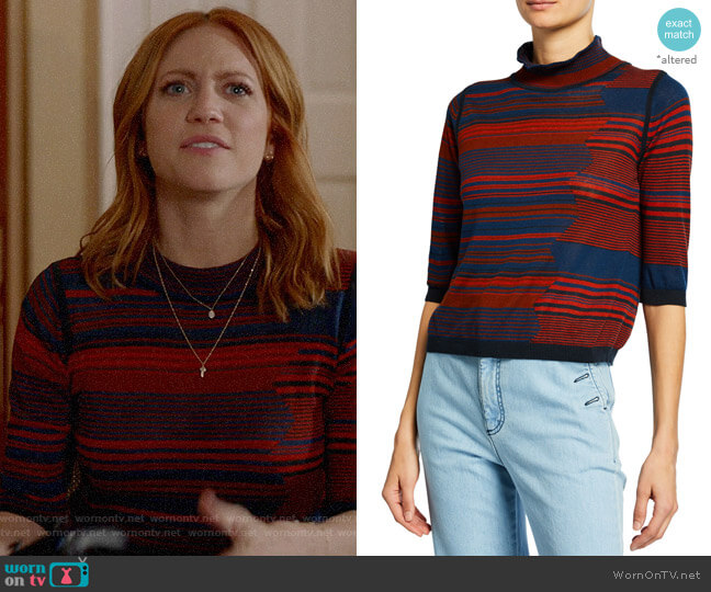 See by Chloe High-Neck Jacquard 3/4-Sleeve Sweater worn by Julia Bechley (Brittany Snow) on Almost Family