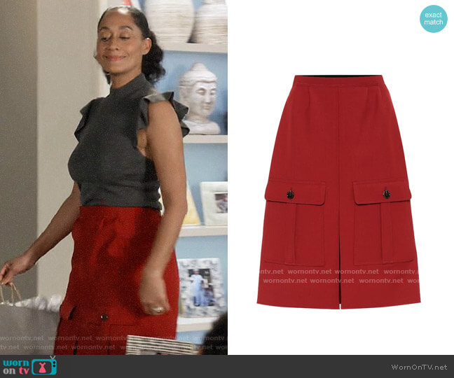 Chloe High Rise Wool Crepe Skirt worn by Rainbow Johnson (Tracee Ellis Ross) on Blackish
