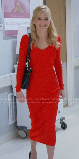 Christy's red v-neck midi dress on Mom
