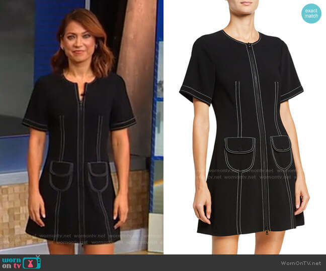 Caroline Zip-Front Pocket Dress by Cinq a Sept worn by Ginger Zee  on Good Morning America