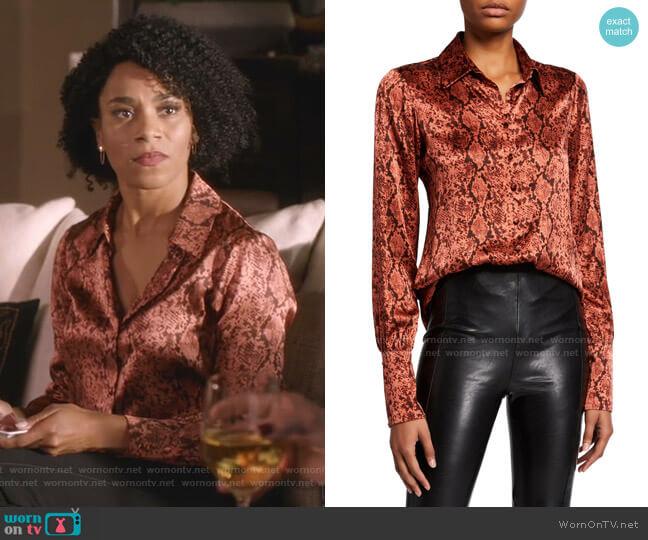 Isha Python-Print Silk Top by Cinq a Sept worn by Maggie Pierce (Kelly McCreary) on Greys Anatomy
