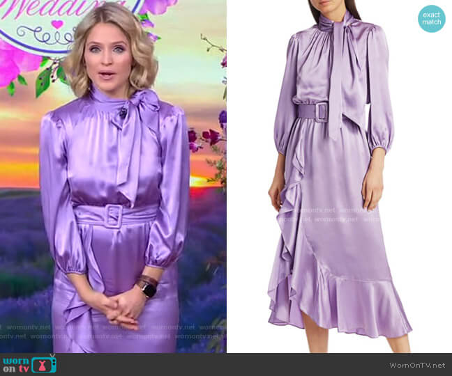 Bella Silk Belted Midi Dress by Cinq a Sept worn by Sara Haines  on Good Morning America