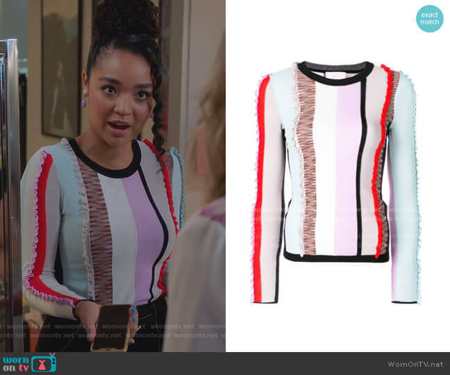 Frill Stripe Panel by Cinq a Sept worn by Kat Edison (Aisha Dee) on The Bold Type