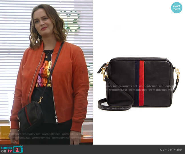 Midi Sac Leather Crossbody Bag by Clare V. worn by Angie (Leighton Meester) on Single Parents