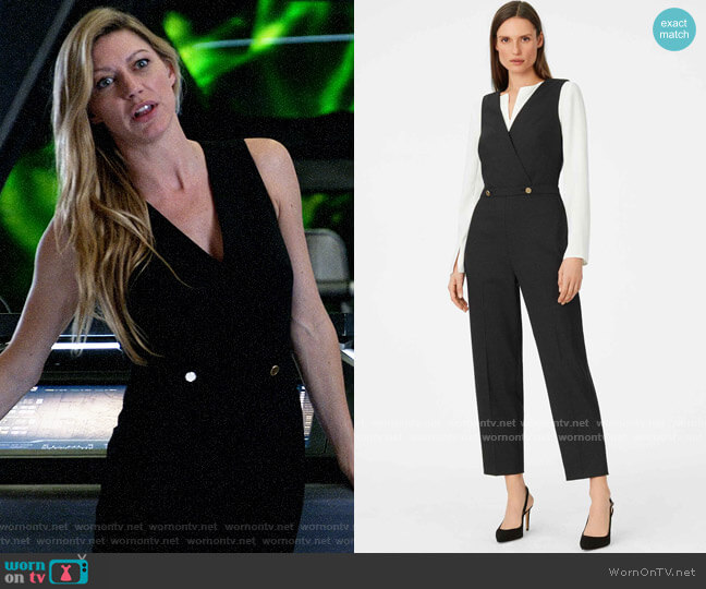 Club Monaco Dorotheah Pin-Dot Jumpsuit worn by Ava Sharpe (Jes Macallan) on Legends of Tomorrow