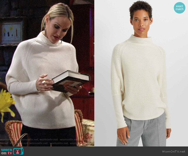 Club Monaco Emma Cashmere Sweater in Chic Cream worn by Sharon Collins (Sharon Case) on The Young & the Restless