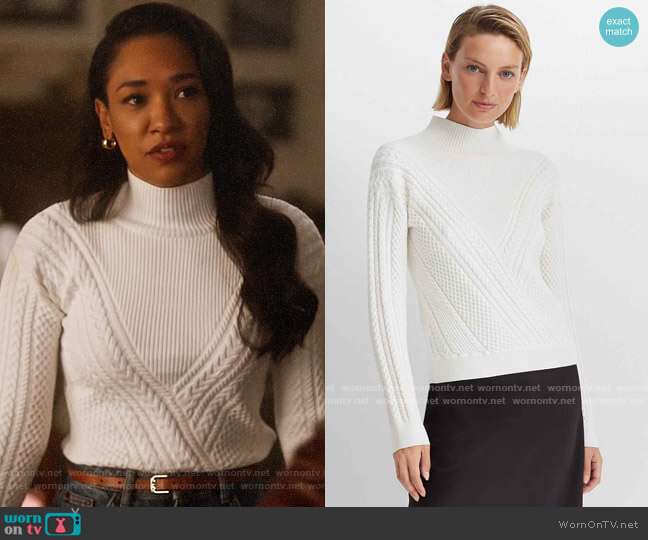 Club Monaco Cable Front Turtleneck Sweater worn by Iris West (Candice Patton) on The Flash