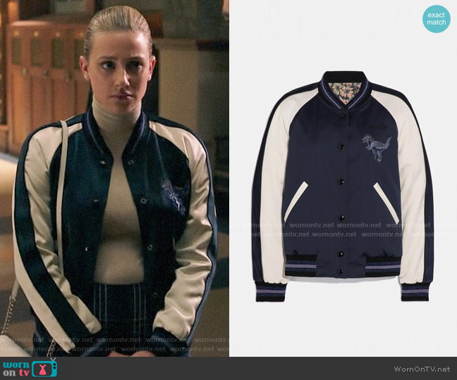 Coach Rexy By Zhu Jingyi Reversible Varsity Jacket worn by Betty Cooper (Lili Reinhart) on Riverdale