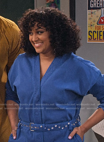 Cocoa's denim v-neck jumpsuit on Family Reunion