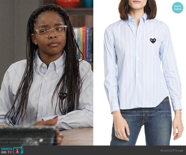 Comme des Garcons Heart Stripe Cotton Shirt worn by Diane Johnson (Marsai Martin) on Blackish