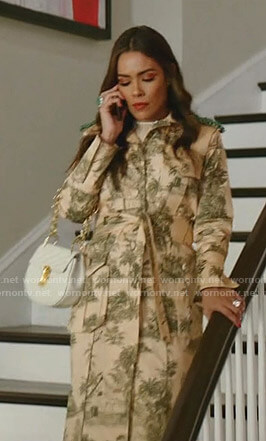 Cristal's beige print trench coat on Dynasty