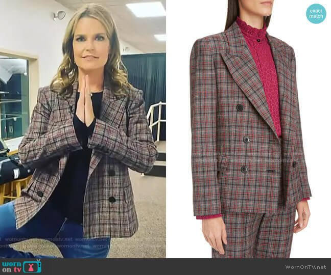 Dallin Plaid Blazer by Isabel Marant worn by Savannah Guthrie  on Today