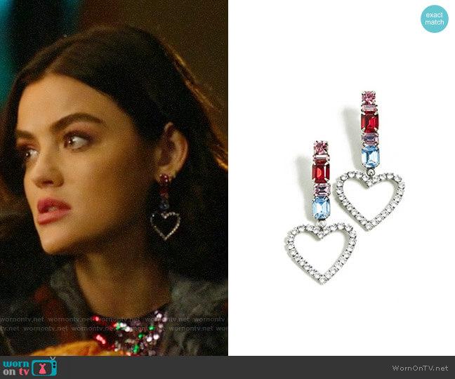 Dannijo Ruby Heart Earrings worn by Katy Keene (Lucy Hale) on Katy Keene