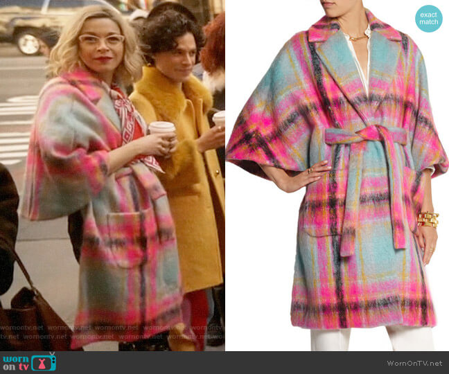 Delpozo Checked mohair-blend cape worn by Pepper Smith (Julia Chan) on Katy Keene