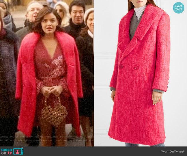 Paper London Rainbow mohair-blend coat worn by Katy Keene (Lucy Hale) on Katy Keene