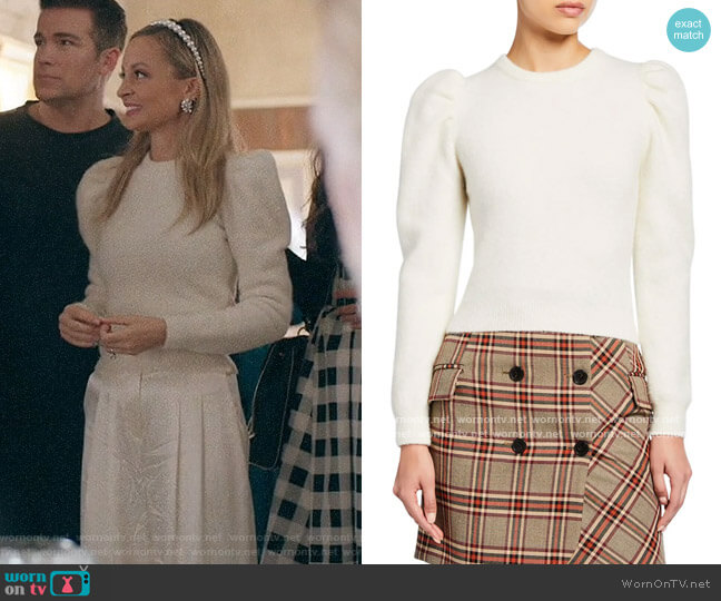 Derek Lam 10 Crosby Puff-Sleeve Alpaca Sweater worn by Nicole Richie on Bless this Mess