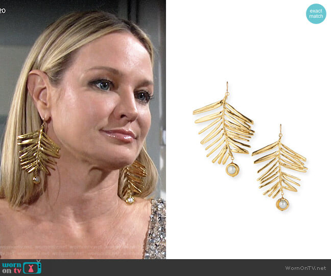 Devon Leigh Large Gold Leaf Pearl and Gold Earrings worn by Sharon Collins (Sharon Case) on The Young & the Restless