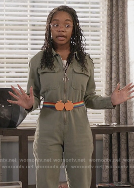 Diane's green zip jumpsuit on Black-ish