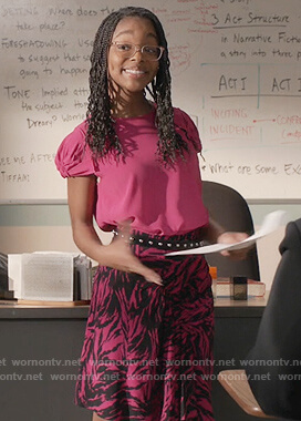 Diane's pink animal print skirt and top on Black-ish