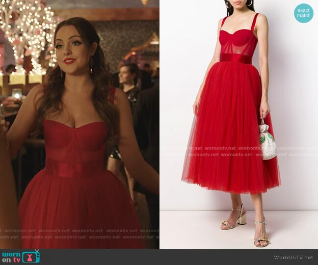 Bustier Tulle Midi Dress by Dolce & Gabbana worn by Fallon Carrington (Elizabeth Gillies) on Dynasty
