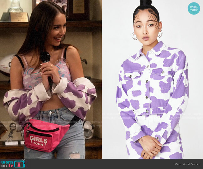 Dolls Kill Jaded London Lilac Cow Print Denim Jacket worn by Bella Schmerz (Haley Pullos) on The Expanding Universe of Ashley Garcia