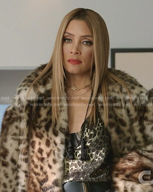 Dominique's leopard print blouse and coat on Dynasty
