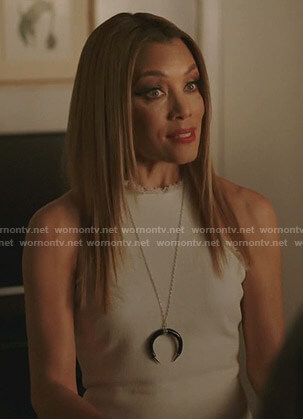 Dominique's white frayed sleeveless dress on Dynasty