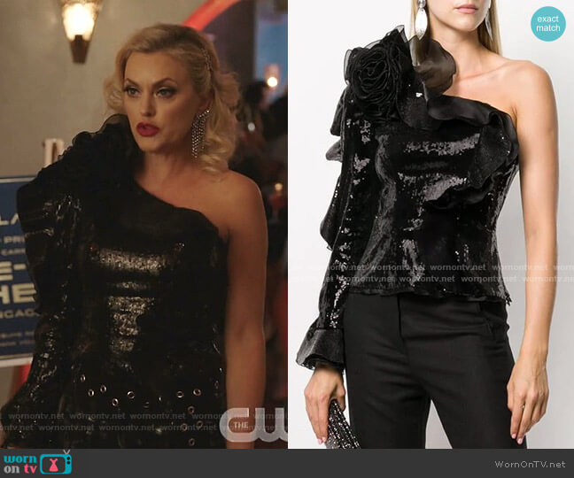 Ruffled One-Shoulder Sequin Top by Dundas worn by Alexis Carrington (Elaine Hendrix) on Dynasty