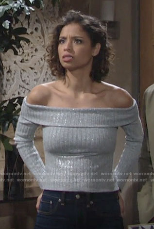 Elena's silver off-shoulder sweater on The Young and the Restless