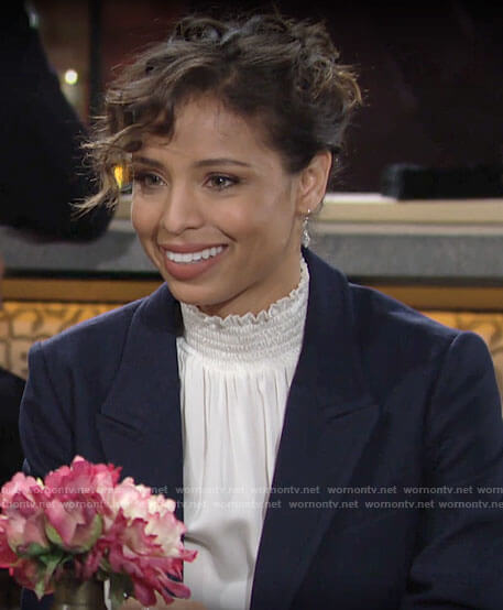 Elena's white smocked neck top on The Young and the Restless