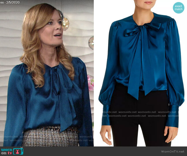 Elie Tahari Bali Silk Tie-Neck Top worn by Phyllis Summers (Michelle Stafford) on The Young & the Restless