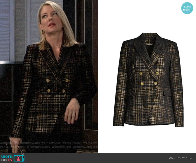Elie Tahari Jezebel Jacket in Black/Gold worn by Nina Reeves (Cynthia Watros) on General Hospital