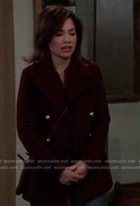 Elizabeth's burgundy peacoat on General Hospital
