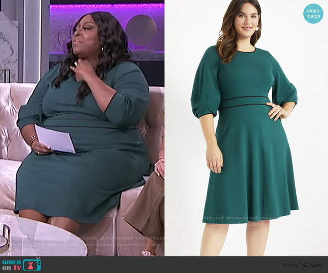Lantern Sleeve Dress by Eloquii worn by Loni Love  on The Real