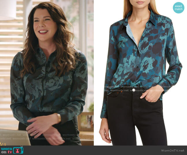 Leema Floral Shirt by Equipment worn by Joan (Lauren Graham) on Zoeys Extraordinary Playlist