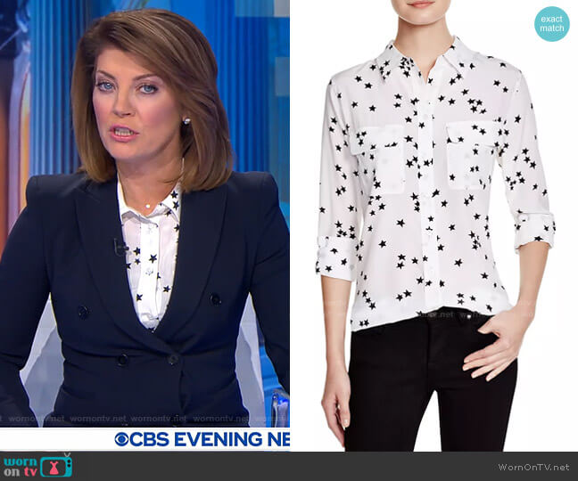 Slim Signature Silk Top by Equipment worn by Norah O'Donnell  on CBS Evening News