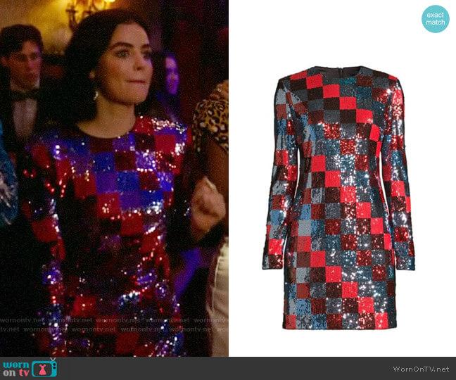 Escada Sport Deighty Multi-Sequin Checkerboard Shift Dress worn by Katy Keene (Lucy Hale) on Katy Keene