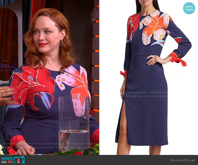 Lily-Print Midi Dress by Etro worn by Christina Hendricks on GMA