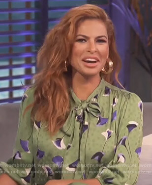 Eva Mendes's green floral blouse and pants on Access Hollywood