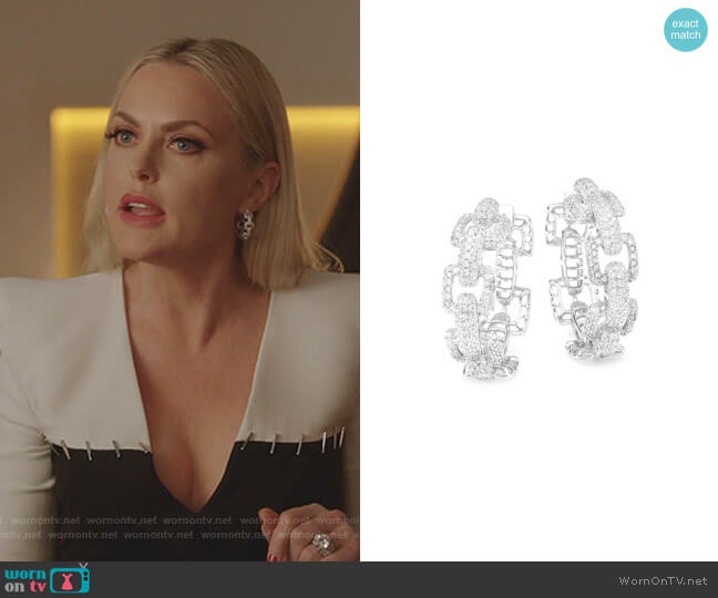 Rhodium Plated Cubic Zirconia Link Hoop Earrings by Fallon worn by Alexis Carrington (Elaine Hendrix) on Dynasty