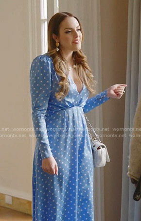 Fallon's blue polka dot v-neck dress on Dynasty