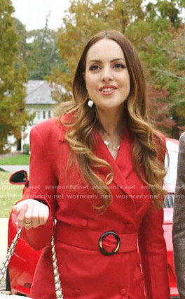 Fallon's red belted coat on Dynasty